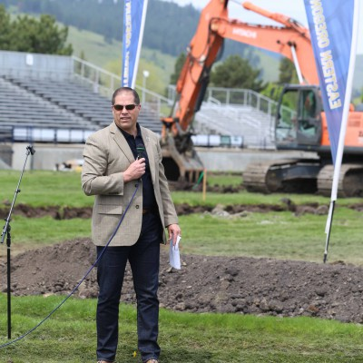 EOU President Tom Insko at Stadium-Track ground-breaking