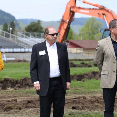 EOU Board Chair David Nelson at the Stadium-Track ground-breaking