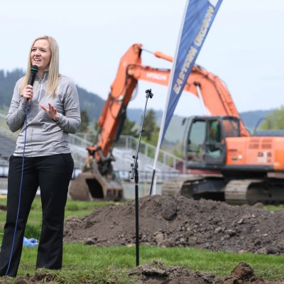 Athletics Director Anji Weissenfluh at the Stadium-Track ground-breaking