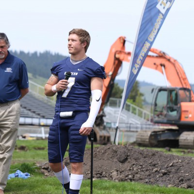EOU football player at Stadium-Track ground-breaking