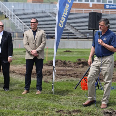 Track and field/cross-country coach Ben Welch at the Stadium-Track ground-breaking