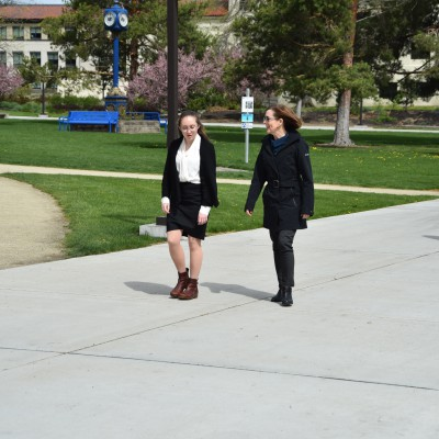 Gov KB touring campus with Rachel Storey