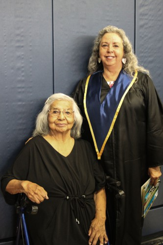 Bobbie Conner with mother Leah Conner at EOU commencement 2018