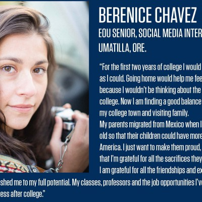 Berenice Chavez will graduate from EOU this spring with degrees in art and anthropology.