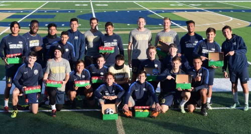Men's Soccer with Operation Christmas Child boxes