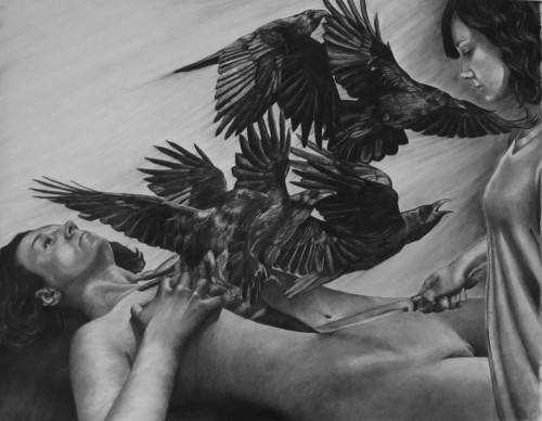 """This is not death, it is something safer. The wingy myths won't tug at us anymore"" Charcoal on paper, 2018 Winner of Best in Show at the 2018 All-Campus Juried Student Exhibition"