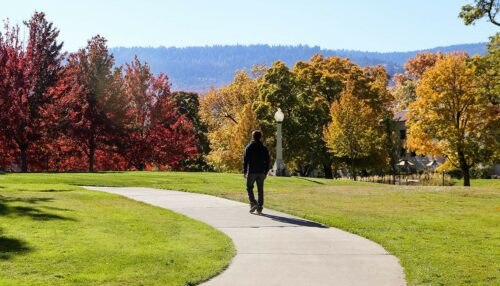 Picture of a student walking on campus in fall