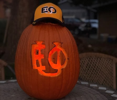 Pumpkin with EOU carved in it