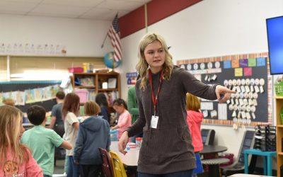 student teacher in a classroom