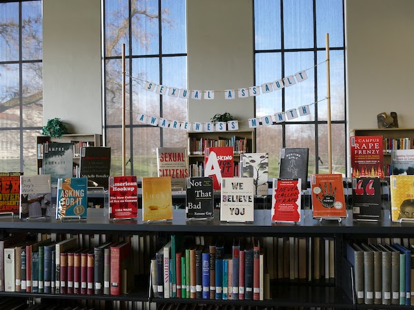 Library display for sexual assault awareness month