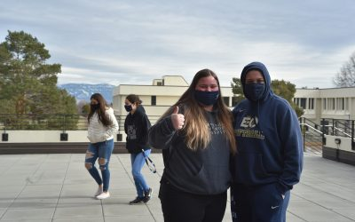 students outside near Hoke