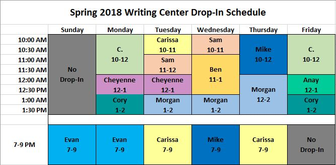 Drop-In Schedule SP2018