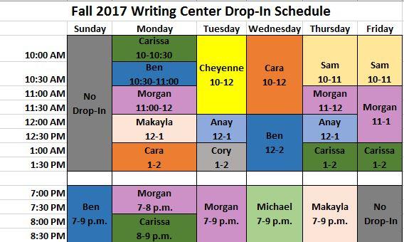 Drop-In Schedule