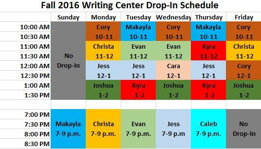Drop-In Tutoring Schedule