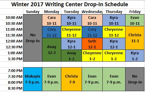 Drop-in Tutoring Schedule_W17